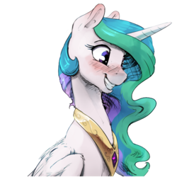 Size: 512x512 | Tagged: alicorn, artist:silfoe, blushing, cute, cutelestia, female, horn, jewel, mare, pony, princess celestia, royal sketchbook, safe, simple background, smiling, solo, transparent background, wings
