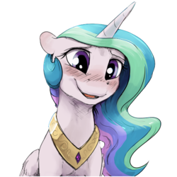 Size: 512x512 | Tagged: alicorn, artist:silfoe, blushing, cute, cutelestia, female, horn, mare, pony, princess celestia, royal sketchbook, safe, simple background, smiling, solo, transparent background, wings