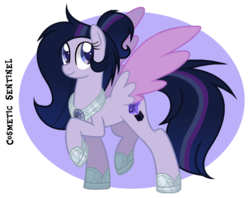 Size: 900x712   Tagged: safe, artist:spiritualpresence, oc, oc only, oc:cosmetic sentinel, pegasus, pony, colored wings, female, mare, offspring, parent:flash sentry, parent:twilight sparkle, parents:flashlight, princess shoes, raised hoof, simple background, solo, transparent background