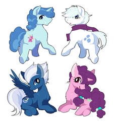 Size: 1364x1506 | Tagged: safe, artist:shinyoko, double diamond, night glider, party favor, sugar belle, earth pony, pegasus, pony, clothes, cutie mark, equal four, female, looking at you, looking back, male, mare, scarf, simple background, stallion, white background, wings