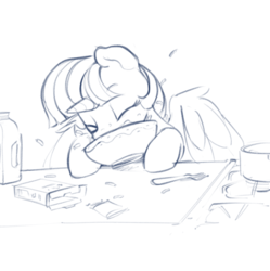 Size: 877x882 | Tagged: alicorn, artist:dimfann, bowl, cheese, dinner, dork, eating, eyes closed, female, food, fork, macaroni, macaroni and cheese, majestic as fuck, mare, milk, monochrome, pasta, pony, safe, silly, silly pony, simple background, sketch, solo, twilight sparkle, twilight sparkle (alicorn), white background