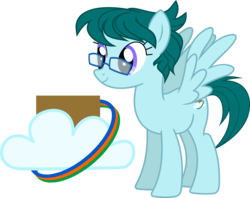 Size: 2000x1586 | Tagged: safe, artist:yoshimon1, oc, oc only, oc:cloudy bits, pegasus, pony, cutie mark, female, glasses, mare, reference sheet, simple background, solo, transparent background, vector