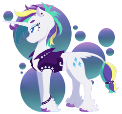 Size: 1703x1594   Tagged: safe, artist:ximsketchs, rarity, classical unicorn, pony, unicorn, it isn't the mane thing about you, abstract background, alternate hairstyle, clothes, cloven hooves, ear piercing, female, jacket, leather jacket, leonine tail, mare, piercing, punk, raripunk, smiling, solo, unshorn fetlocks