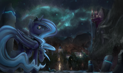 Size: 3000x1772 | Tagged: safe, artist:blvckmagic, princess luna, alicorn, pony, aurora borealis, canterlot, cute, featured image, female, forest, leg fluff, looking at you, looking back, lunabetes, mare, mountain, night, raised hoof, runes, scenery, scenery porn, sky, smiling, solo, stars, town, underhoof, wallpaper, waterfall