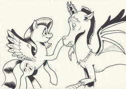 Size: 1111x787 | Tagged: safe, artist:saturdaymorningproj, discord, fluttershy, draconequus, pegasus, pony, boop, duo, looking at each other, monochrome, profile, raised hoof, simple background, smiling, spread wings, traditional art, white background, wings