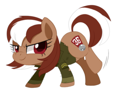 Size: 786x637 | Tagged: artist:pepooni, chibi, clothes, earth pony, female, mare, oc, oc only, oc:roulette, pony, safe, shirt, simple background, solo, transparent background