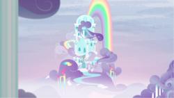 Size: 1281x720 | Tagged: safe, screencap, newbie dash, building, cloud, cloud house, house, no pony, rainbow, rainbow dash's house, rainbow waterfall, scenery