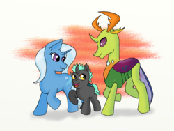 Size: 1200x900 | Tagged: artist:eulicious, changedling, changeling, changepony, female, hybrid, interspecies offspring, king thorax, male, oc, oc:prince thurston, offspring, parents:thoraxie, parent:thorax, parent:trixie, safe, shipping, simple background, straight, thorax, thoraxie, trixie