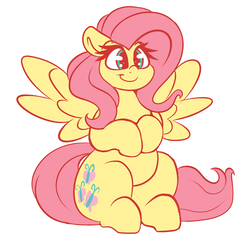 Size: 1504x1444 | Tagged: safe, artist:graphene, fluttershy, pegasus, pony, cute, female, mare, shyabetes, simple background, sitting, smiling, solo, spread wings, wings