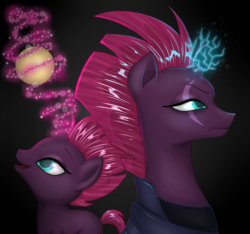 Size: 3200x3000 | Tagged: safe, artist:mirmis, fizzlepop berrytwist, tempest shadow, my little pony: the movie, back to back, ball, broken horn, eye scar, female, filly, filly tempest shadow, glowing horn, horn, scar, self ponidox, sparking horn, younger