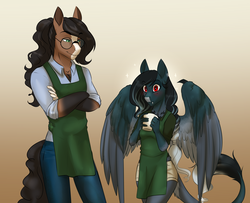 Size: 3835x3112 | Tagged: anthro, anthro oc, apron, artist:askbubblelee, blushing, clothes, crossed arms, cup, death by coffee, earth pony, fangs, female, leonine tail, male, mare, oc, oc only, oc:pandie, oc:walter nutt, oc x oc, pants, pegasus, red eyes, safe, shipping, shirt, shorts, smiling, stallion, story in the source, straight