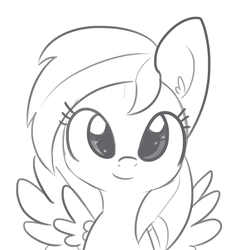 Size: 1650x1650 | Tagged: artist:tjpones, cute, dashabetes, ear fluff, female, grayscale, looking at you, mare, monochrome, pegasus, pony, rainbow dash, safe, simple background, sketch, solo, starry eyes, white background, wingding eyes