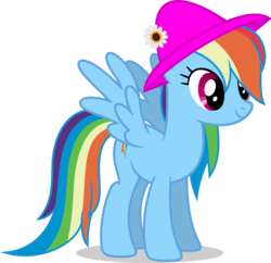 Size: 7000x6783 | Tagged: absurd res, artist:luckreza8, female, hat, mare, pegasus, pony, rainbow dash, safe, simple background, smiling, solo, transparent background, vector