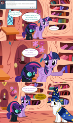 Size: 1280x2168 | Tagged: alicorn, artist:hakunohamikage, ask, ask-princesssparkle, female, filly, golden oaks library, oc, oc:nyx, pony, safe, star swirl the bearded, tumblr, twilight sparkle, twilight sparkle (alicorn)