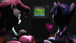 Size: 3840x2160 | Tagged: safe, artist:goatcanon, pinkie pie, twilight sparkle, 3d, atari, atari 2600, controller, duo, e.t., e.t. the video game, female, gamer twi, levitation, magic, pure unfiltered evil, source filmmaker, telekinesis