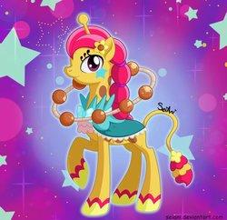 Size: 600x581 | Tagged: safe, artist:seiani, pony, female, performapal changeraffe, ponified, raised hoof, solo, yu-gi-oh!, yu-gi-oh! arc-v