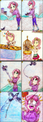 Size: 1117x3105 | Tagged: safe, artist:meiyeezhu, fluttershy, bird, human, eqg summertime shorts, equestria girls, pet project, animal shelter, anime, bandage, bird cage, boots, bow, breasts, bush, busty fluttershy, cage, censored vulgarity, clothes, comic, earmuffs, fetish, flying, glue, grawlixes, guano, humanized, medic, medical, needle, old master q, parody, phone, plop bombing, poop, pooping, reference, scat, shirt, shocked, shoes, skirt, snow, stitching, surprised, sweater, sweatershy, tape, traditional art, unexpected, ungrateful, winter