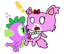 Size: 681x574 | Tagged: artist:harmony--bunny, cat, crossover, garnet (jewelpet), jewelpet, safe, spike