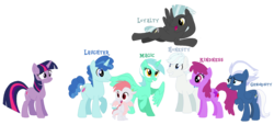 Size: 1834x834 | Tagged: alicorn, alicornified, alternate mane seven, alternate universe, artist:moonlightthegriffon, berry punch, berryshine, double diamond, dragon, earth pony, fizzle, lyracorn, lyra heartstrings, mane six, night glider, party favor, pegasus, pony, race swap, safe, simple background, thunderlane, transparent background, twilight sparkle, unicorn, unicorn twilight