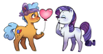 Size: 1268x676 | Tagged: safe, artist:s1nb0y, rarity, twisty pop, earth pony, pony, unicorn, forever filly, balloon, chest fluff, female, heart, male, shipping, simple background, smiling, straight, twistity, white background