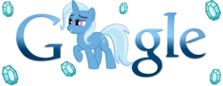 Size: 1800x700 | Tagged: safe, artist:thepolymath, trixie, google, logo, logo parody, raised hoof, simple background, smiling, transparent background, vector
