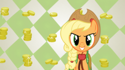Size: 1920x1080 | Tagged: applejack, artist:shelltoon, bits, clothes, dress, edit, gala dress, safe, screencap, solo, the best night ever, vector, wallpaper, wallpaper edit