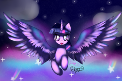 Size: 1800x1200 | Tagged: alicorn, artist:sweethearts11, flying, pony, safe, solo, spread wings, twilight sparkle, twilight sparkle (alicorn), wings