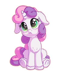Size: 1100x1400   Tagged: safe, artist:bobdude0, artist:discorded, sweetie belle, pony, unicorn, :c, chest fluff, collaboration, cute, daaaaaaaaaaaw, diasweetes, female, filly, floppy ears, frown, hnnng, horn, sad, sadorable, simple background, sitting, solo, starry eyes, transparent background, unshorn fetlocks, wingding eyes