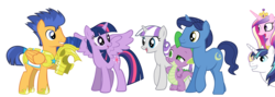 Size: 2500x894 | Tagged: alicorn, artist:90sigma, artist:bl1ghtmare, artist:demigod-spike, artist:jakethespy, artist:quanno3, artist:rebron-y, artist:sakatagintoki117, artist:squirrel734, edit, flash sentry, night light, princess cadance, safe, shining armor, spike, twilight sparkle, twilight sparkle (alicorn), twilight velvet, vector, vector edit