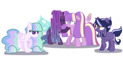 Size: 1024x512 | Tagged: safe, artist:peachjay, oc, oc only, changepony, pegasus, pony, unicorn, female, magical lesbian spawn, mare, offspring, parent:princess cadance, parent:princess celestia, parent:princess luna, parent:queen chrysalis, parent:twilight sparkle, parents:twidance, parents:twilestia, parents:twiluna, parents:twisalis, twilight sparkle gets all the mares