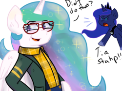 Size: 1024x768 | Tagged: alicorn, artist:tranzmuteproductions, clothes, costume, family matters, female, glasses, mare, pony, princess celestia, princess luna, safe, scarf, simple background, stahp, steve urkel, white background