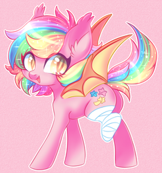 Size: 700x749 | Tagged: safe, artist:cabbage-arts, oc, oc only, oc:paper stars, bat pony, pony, amputee, bandage, bat pony oc, colored pupils, cute, ear fluff, female, looking at you, looking back, looking back at you, mare, open mouth, pink background, rainbow hair, simple background, solo, spread wings, wings