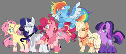 Size: 1600x692 | Tagged: safe, artist:taaffeiite, applejack, fluttershy, pinkie pie, rainbow dash, rarity, twilight sparkle, classical unicorn, earth pony, pegasus, pony, unicorn, alternate color palette, alternate cutie mark, alternate eye color, alternate hair color, alternate hairstyle, alternate universe, applejack (g5), bandana, beauty mark, choker, cloven hooves, collar, colored wings, colored wingtips, dappled, dock, ear fluff, ear piercing, earring, earth pony twilight, excited, eyeshadow, female, floppy ears, flower, flower in hair, fluttershy (g5), flying, frown, g5, g5 concept leak style, gradient eyes, gray background, grin, happy, hoof fluff, jewelry, leonine tail, lidded eyes, looking at you, looking down, makeup, mane six, mane six (g5), mare, neckerchief, necklace, nervous, pale belly, pegasus pinkie pie, piercing, pigtails, pinkie pie (g5), ponytail, race swap, rainbow dash (g5), raised hoof, raised leg, rarity (g5), shivering, simple background, smiling, socks (coat marking), spoiler, spread wings, squee, tail feathers, trembling, twilight sparkle (g5), unamused, unicorn fluttershy, unshorn fetlocks, unsure, wall of tags, wide eyes, wings, worried