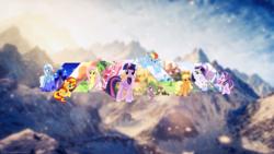 Size: 1920x1080 | Tagged: safe, artist:antylavx, artist:bluefluffydinosaur, artist:dashiesparkle, artist:deyrasd, artist:luckreza8, artist:tardifice, artist:teiptr, applejack, fluttershy, pinkie pie, rainbow dash, rarity, spike, starlight glimmer, sunset shimmer, trixie, twilight sparkle, alicorn, dragon, earth pony, pegasus, pony, unicorn, female, male, mane seven, mane six, mare, mountain, mountain range, scenery, twilight sparkle (alicorn), wallpaper
