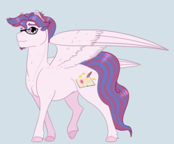 Size: 1900x1579 | Tagged: artist:ganashiashaka, glasses, male, oc, oc only, oc:shining breeze, offspring, parent:princess cadance, parent:shining armor, parents:shiningcadance, pegasus, pony, safe, solo, stallion