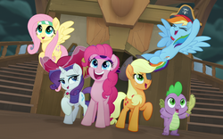 Size: 1280x800   Tagged: safe, edit, edited screencap, screencap, applejack, fluttershy, pinkie pie, rainbow dash, rarity, spike, dragon, earth pony, pegasus, pony, unicorn, my little pony: the movie, bandana, cropped, cute, eyepatch, eyes closed, hat, one eye closed, open mouth, pirate, pirate applejack, pirate fluttershy, pirate hat, pirate pinkie pie, pirate rainbow dash, pirate rarity, raised hoof, smiling, sword, time to be awesome, weapon
