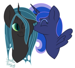 Size: 1024x935 | Tagged: artist:amellia-rose, chrysaluna, female, lesbian, princess luna, queen chrysalis, safe, shipping