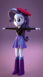 Size: 720x1280 | Tagged: safe, artist:creatorofpony, artist:rare-fashions15, rarity, equestria girls, 3d, beatnik rarity, belt, beret, blender, boots, clothes, hat, shoes, skirt, solo, sweater, t pose