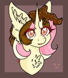 Size: 1121x1280 | Tagged: safe, artist:niniibear, unicorn, brown, bust, chest fluff, chocolate, cute, fluffy, food, heart, heart eyes, pink, portrait, smiling, solo, sweet, wingding eyes