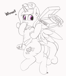Size: 5442x6223 | Tagged: safe, artist:pabbley, princess cadance, alicorn, pony, absurd resolution, butt, cadance's pizza delivery, clothes, cute, cutedance, female, food, hat, lovebutt, mare, peetzer, pizza, pizza box, plot, shirt, simple background, smiling, solo