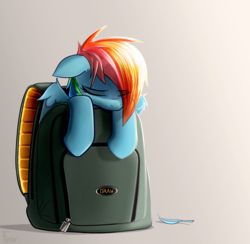 Size: 3308x3233 | Tagged: safe, artist:fenixdust, rainbow dash, pegasus, pony, backpack, cute, dashabetes, eyes closed, feather, female, floppy ears, high res, mare, sleeping, smol, solo