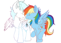 Size: 2000x1400 | Tagged: safe, rainbow dash, oc, oc:diamond frost, canon x oc, eyes closed, female, male, mare, simple background, smiling, stallion, wings