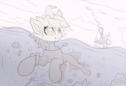 Size: 1810x1228 | Tagged: safe, artist:yakovlev-vad, oc, oc only, dolphin, fish, pony, seagull, cloud, female, mare, ship, sketch, swimming, underwater, water