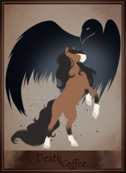 Size: 1024x1399 | Tagged: artist:blackblood-queen, cover art, death by coffee, earth pony, female, male, oc, oc only, oc:pandie, oc:walter nutt, oc x oc, pony, rearing, safe, shipping, stallion, straight