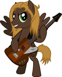 Size: 989x1231   Tagged: safe, artist:lightningbolt, derpibooru exclusive, oc, oc only, oc:mellow rhythm, pegasus, pony, .svg available, bass guitar, bipedal, grin, guitar, guitar pick, guitar strap, hoof hold, long mane, looking at you, male, mane, messy mane, musical instrument, short tail, simple background, smiling, solo, spread wings, stallion, svg, transparent background, vector, wings