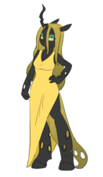 Size: 2400x4113 | Tagged: anthro, artist:carnifex, bedroom eyes, changeling, changeling oc, changeling queen, changeling queen oc, female, hand on hip, oc, oc:deciduous, oc only, safe, simple background, solo, transparent background, unguligrade anthro, yellow changeling