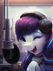 Size: 2250x3000 | Tagged: safe, artist:vanillaghosties, coloratura, earth pony, pony, cute, daaaaaaaaaaaw, female, headphones, looking at you, mare, microphone, one eye closed, open mouth, rara, rarabetes, recording studio, smiling, solo, wink