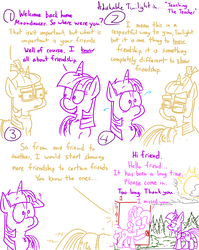 Size: 4779x6013 | Tagged: safe, artist:adorkabletwilightandfriends, moondancer, pinkie pie, twilight sparkle, alicorn, pony, comic:adorkable twilight and friends, absurd resolution, adorkable twilight, advice, building bridges, clothes, cloud, comic, floppy ears, forest, friends, friendship, glasses, humor, lineart, rebuilding, shocked, slice of life, sun, sunset, surprised, sweat, sweater, teacher, tree, twilight sparkle (alicorn), unexpected ending