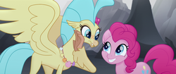 Size: 1920x804   Tagged: safe, screencap, pinkie pie, princess skystar, classical hippogriff, earth pony, hippogriff, pony, my little pony: the movie, cute, diapinkes, duo, female, flower, flower in hair, jewelry, mare, necklace, raised claw, seashell necklace, skyabetes, sweet dreams fuel, this will end in grounding