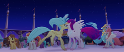 Size: 1920x804 | Tagged: safe, screencap, bell perin, chocolate apple, dawn sunrays, haven bay, princess skystar, queen novo, salina blue, stratus skyranger, classical hippogriff, earth pony, hippogriff, pegasus, pony, my little pony: the movie, background pony, canterlot, feathered fetlocks, female, male, mare, market, mother and daughter, rainbow (song), reunion, stallion, unnamed pony